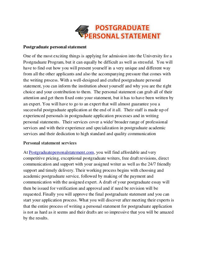 Postgraduate Personal Statement One Of The Most Exciting Things Is Applying  For Admission Into The University  Examples Of Good Personal Statements