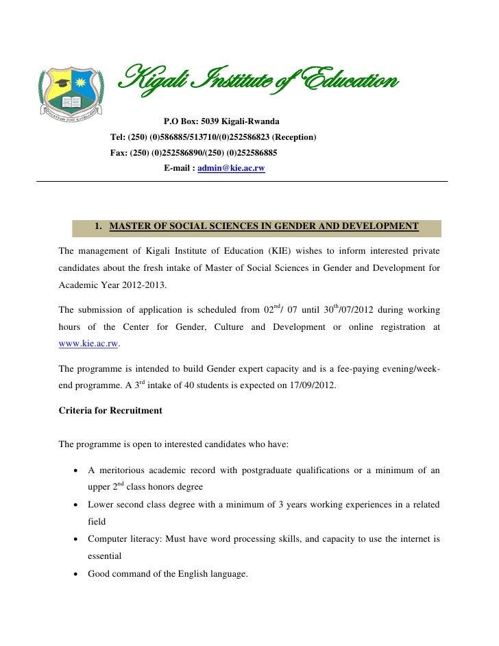 Kigali Institute of Education                            P.O Box: 5039 Kigali-Rwanda               Tel: (250) (0)586885/51...
