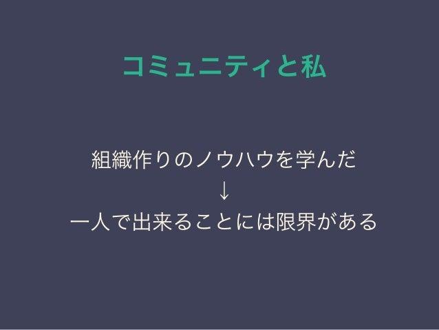 コミュニティと私 日本PostgreSQLユーザ会 ↓ JPUG 組織作りのノウハウを学んだ ↓ 一人で出来ることには限界がある