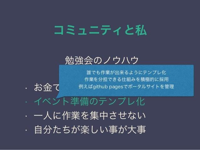 コミュニティと私 日本PostgreSQLユーザ会 ↓ JPUG 勉強会のノウハウ • お金で苦労しない仕組みが大事 • イベント準備のテンプレ化 • 一人に作業を集中させない • 自分たちが楽しい事が大事 誰でも作業が出来るようにテンプレ化 ...