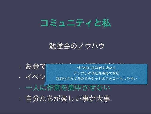 コミュニティと私 日本PostgreSQLユーザ会 ↓ JPUG 勉強会のノウハウ • お金で苦労しない仕組みが大事 • イベント準備のテンプレ化 • 一人に作業を集中させない • 自分たちが楽しい事が大事 地方毎に担当者を決める テンプレの項...