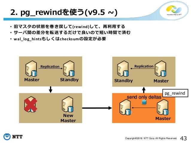 43Copyright©2018 NTT Corp. All Rights Reserved. • 旧マスタの状態を巻き戻して(rewind)して、再利用する • サーバ間の差分を転送するだけで良いので短い時間で済む • wal_log_hin...