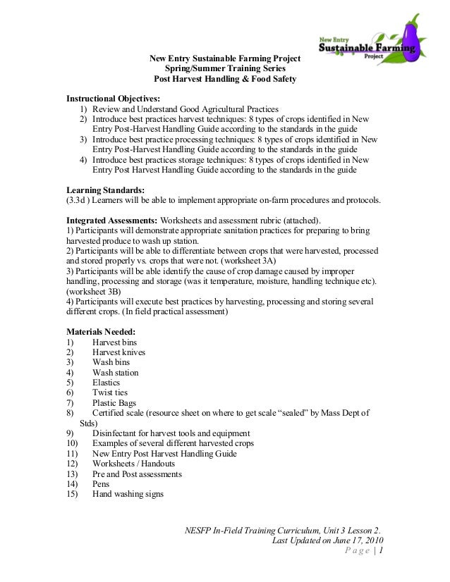 Food Safety Curriculum Post Harvest Handling Lesson Plan