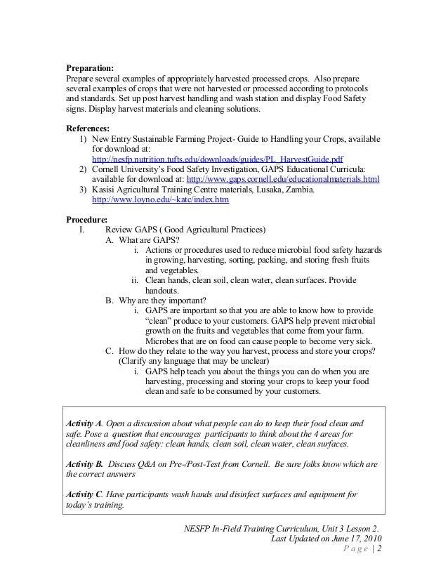 Food Safety Curriculum Post harvest handling lesson plan – Food Safety Worksheets