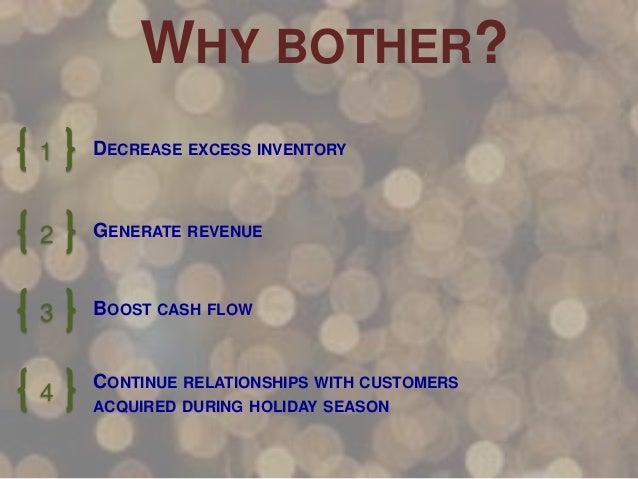 WHY BOTHER? 1  DECREASE EXCESS INVENTORY  2  GENERATE REVENUE  3  BOOST CASH FLOW  4  CONTINUE RELATIONSHIPS WITH CUSTOMER...
