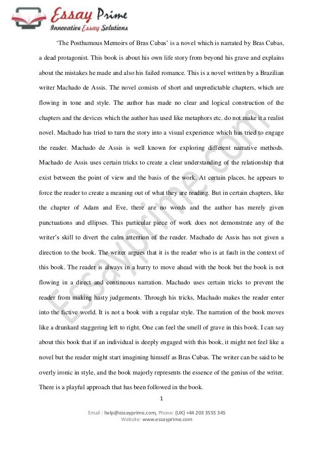 posthumous memoirs of bras s essay sample