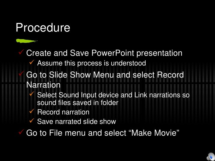how to make narrated power point slide
