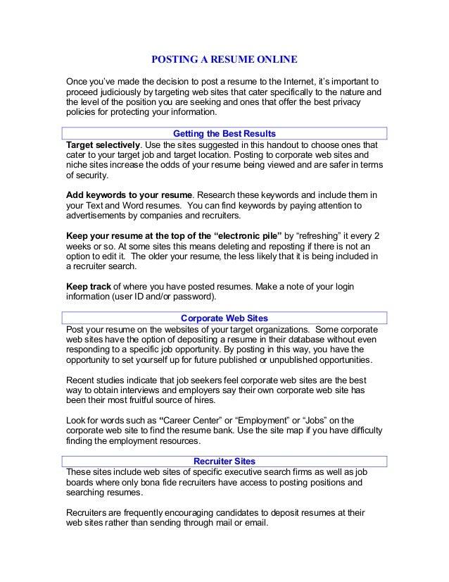 Posting A Resume Online