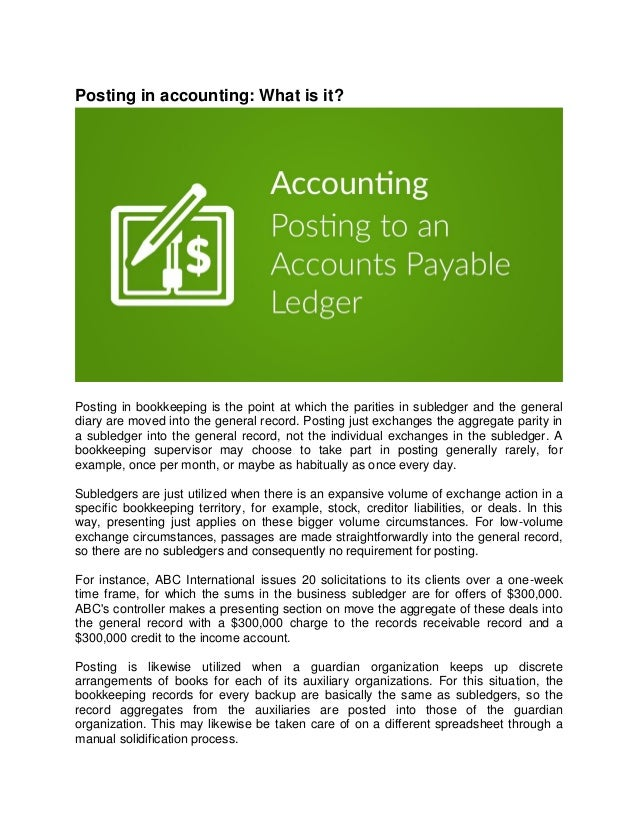 Posting in Accounting : What is it?
