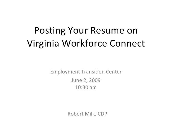 posting resume on va workforce