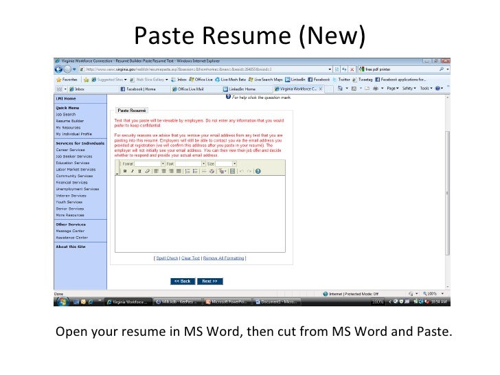 paste resume in email
