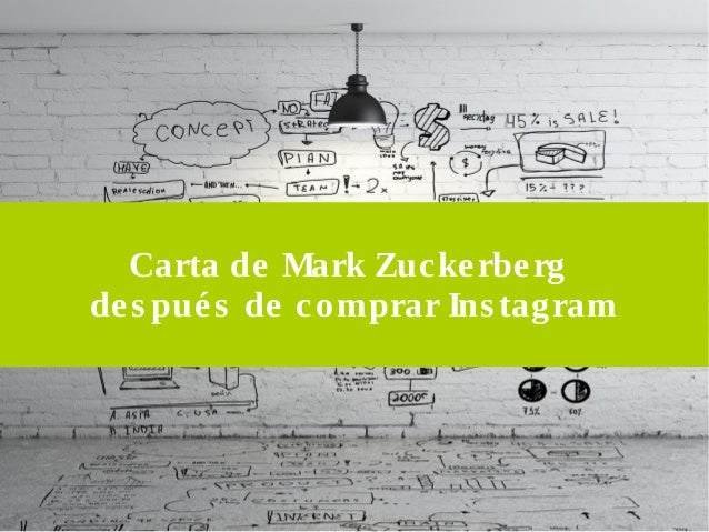 Carta de Mark Zucke rbe rg  de s pué s de comprar Ins tagram