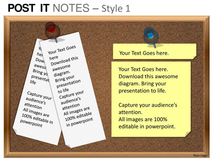 post it notes style 1 powerpoint presentation templates, Powerpoint templates