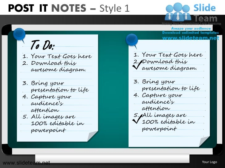 Post It Notes Various Colors Style Design 1 Powerpoint Ppt