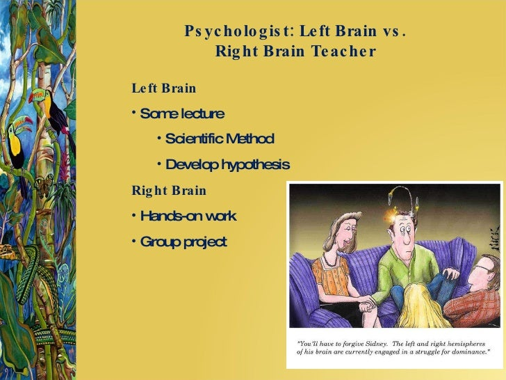 left vs right brain learners essay The right side of the brain is known as the area of the brain that process emotions and feelings while the left side of the brain is where logic and reasoning are processed horizontal integration is when both the left and right side of the brain are integrated into experiences (bryson, 2012).