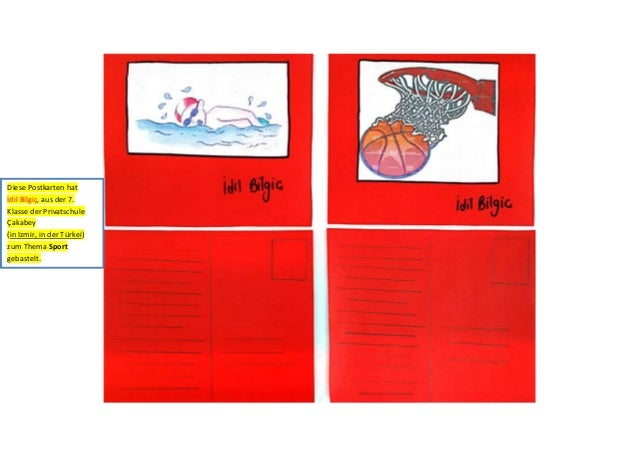 Diese Postkarten hat İdil Bilgiç, aus der 7. Klasse der Privatschule Çakabey (in Izmir, in der Türkei) zum Thema Sport geb...