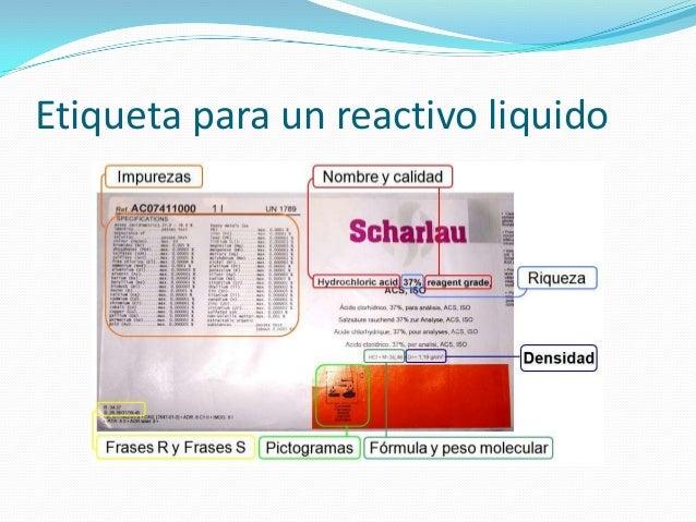 Etiqueta para un reactivo liquido