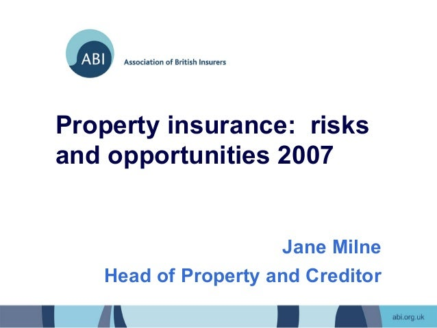 Property insurance: risksand opportunities 2007                     Jane Milne   Head of Property and Creditor