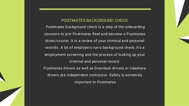 Postmates Requirements