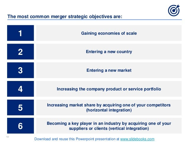 1313 The most common merger strategic objectives are: 1 Gaining economies of scale 2 Entering a new country 3 Entering a n...