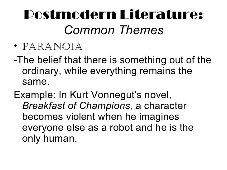 "the elements of postmodernism in slaughterhouse five a novel by kurt vonnegut Kurt vonnegut's ""slaughterhouse five""  features in postmodernism, and the novel strongly draws on this idea,  we identify in the novel a lot of elements of."