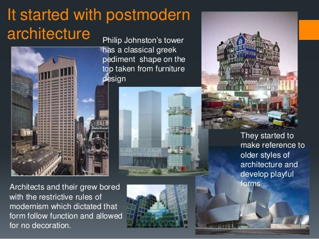 post modern architecture vs international style modernism essay Modern vs postmodern as by reintroducing traditional or classical elements of style or by carrying modernist styles or baroque vs modern pop essay.
