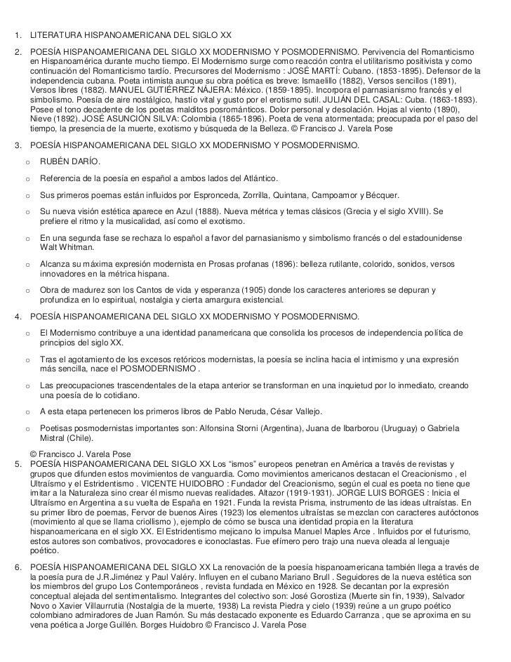 1. LITERATURA HISPANOAMERICANA DEL SIGLO XX2. POESÍA HISPANOAMERICANA DEL SIGLO XX MODERNISMO Y POSMODERNISMO. Pervivencia...