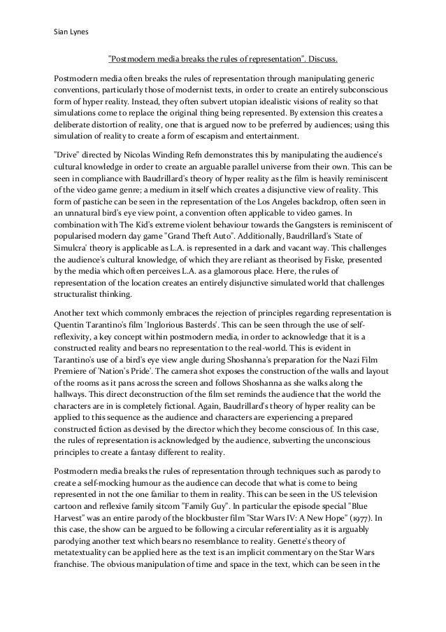 "Sian Lynes""Postmodern media breaks the rules of representation"". Discuss.Postmodern media often breaks the rules of repres..."