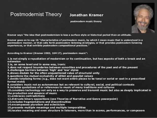 the concept of postmodernism The key ideas of postmodern social theory from the works of lyotard, baudrillard, foucault, derrida and jameson these social theorists include most of the variants of postmodernism in their theories.