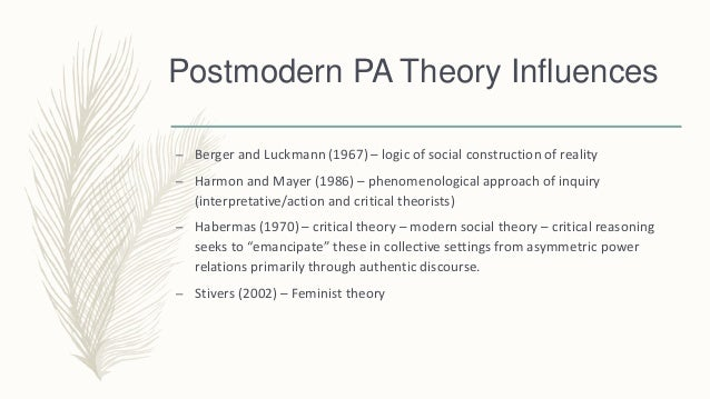 modernist and post modernist approaches to reality Movement of recent memory has so beggared the truth as poststructuralism has1  with the postmodernist turn in theory, truth became a dirty word, and affirmation   approaches are popular only within 'marginalized theoretical subdisciplines.
