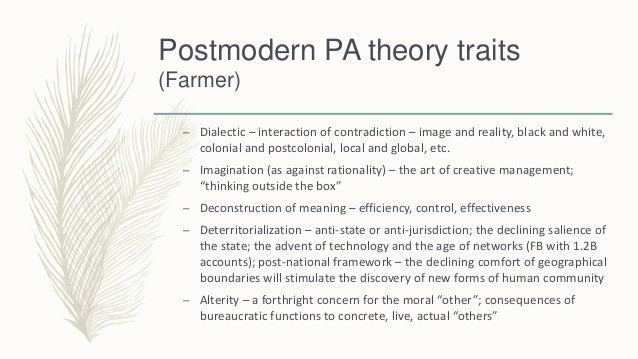 modern and postmodern theory Modern/postmodern begins with a discussion of the profound skepticism—about   he concentrates on the works themselves, but examines theory as a parallel.