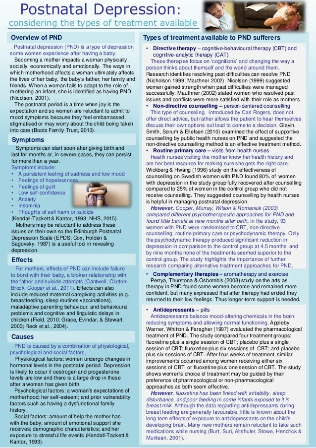 postnatal depression research papers 121 postnatal depression (pnd) the postnatal period is an increased time of risk for the development of three forms of affective difficulties: postnatal blues (baby blues) postnatal (or postpartum) depression and puerperal psychosis (robertson, celasun.