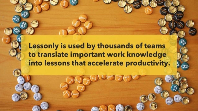 Lessonly is used by thousands of teams to translate important work knowledge into lessons that accelerate productivity.