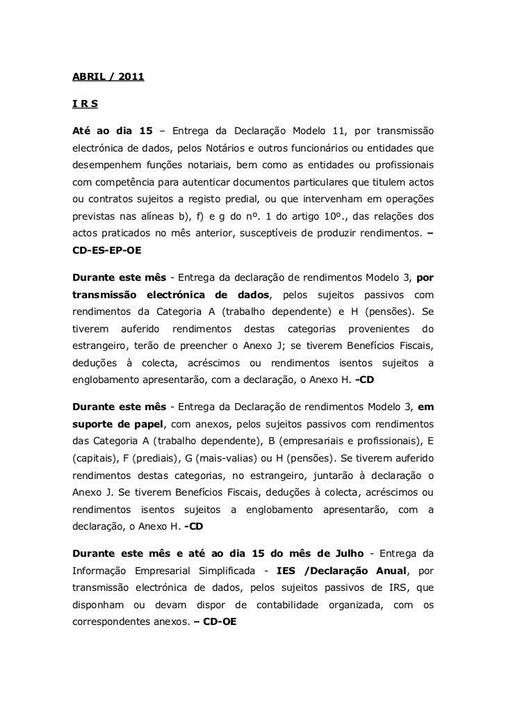 Obrigações Declarativas (Abril 2011)