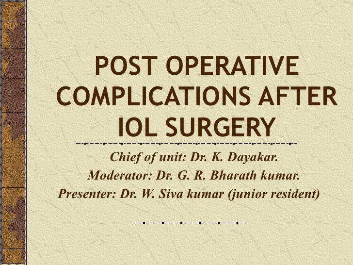POST OPERATIVE COMPLICATIONS AFTER IOL SURGERY Chief of unit: Dr. K. Dayakar. Moderator: Dr. G. R. Bharath kumar. Presente...