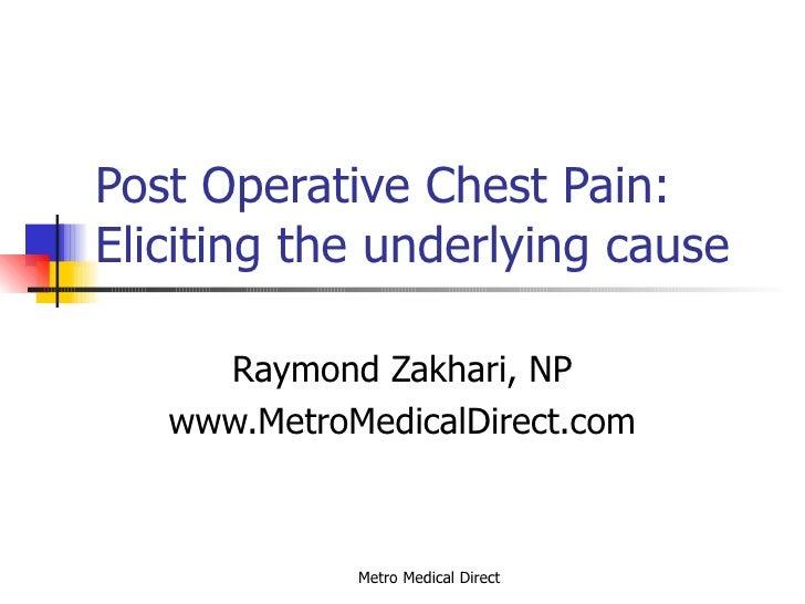 Post Operative Chest Pain: Eliciting the underlying cause Raymond Zakhari, NP www.MetroMedicalDirect.com
