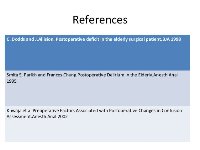 References C. Dodds and J.Allision. Postoperative deficit in the elderly surgical patient.BJA 1998 Smita S. Parikh and Fra...