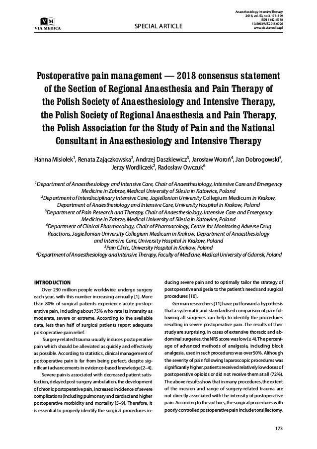 Postoperative pain management 2018 consensusstatement Slide 2