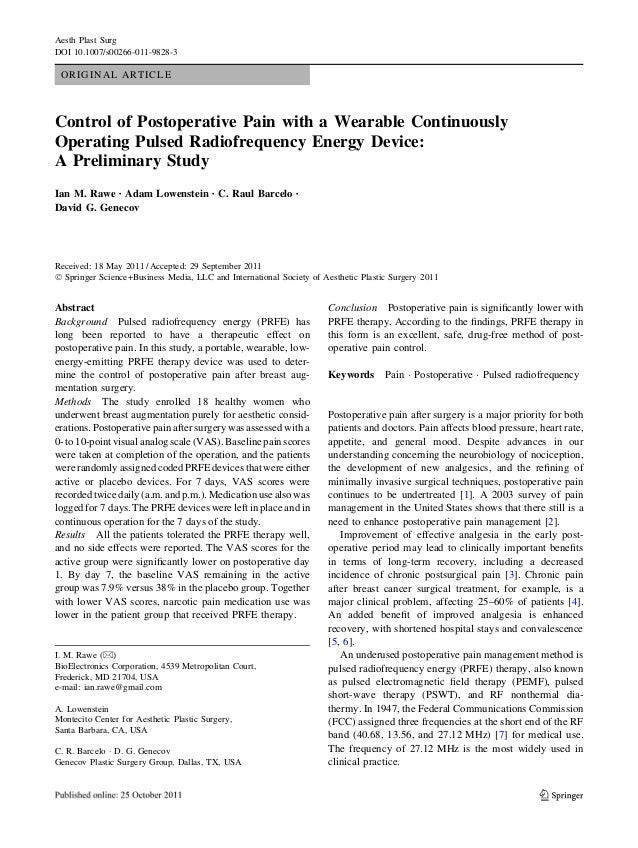 ORIGINAL ARTICLE Control of Postoperative Pain with a Wearable Continuously Operating Pulsed Radiofrequency Energy Device:...