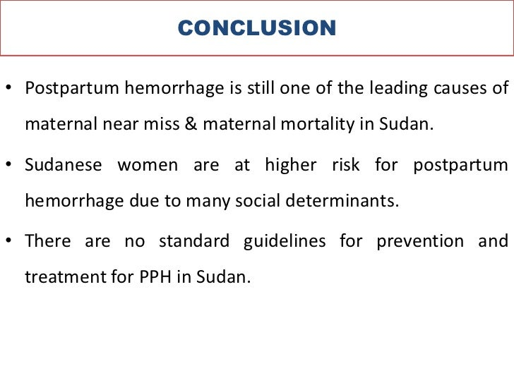 understanding the causes and treatment of postpartum hemorrhage pph Pph is highly variable in cause and severity and ranges from persistent, slow, steady bleeding to catastrophic hemorrhage therefore, the moh alert will depend on different criteria.