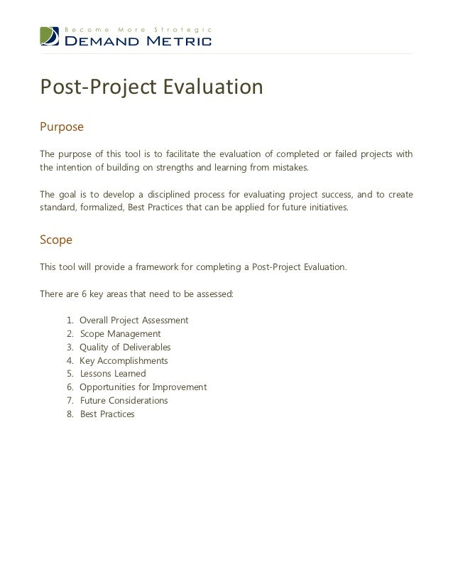 Post project evaluation template – Project Evaluation