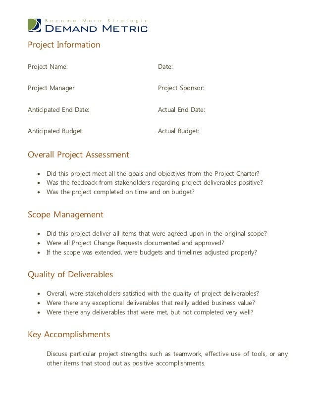 Post Project Evaluation Template