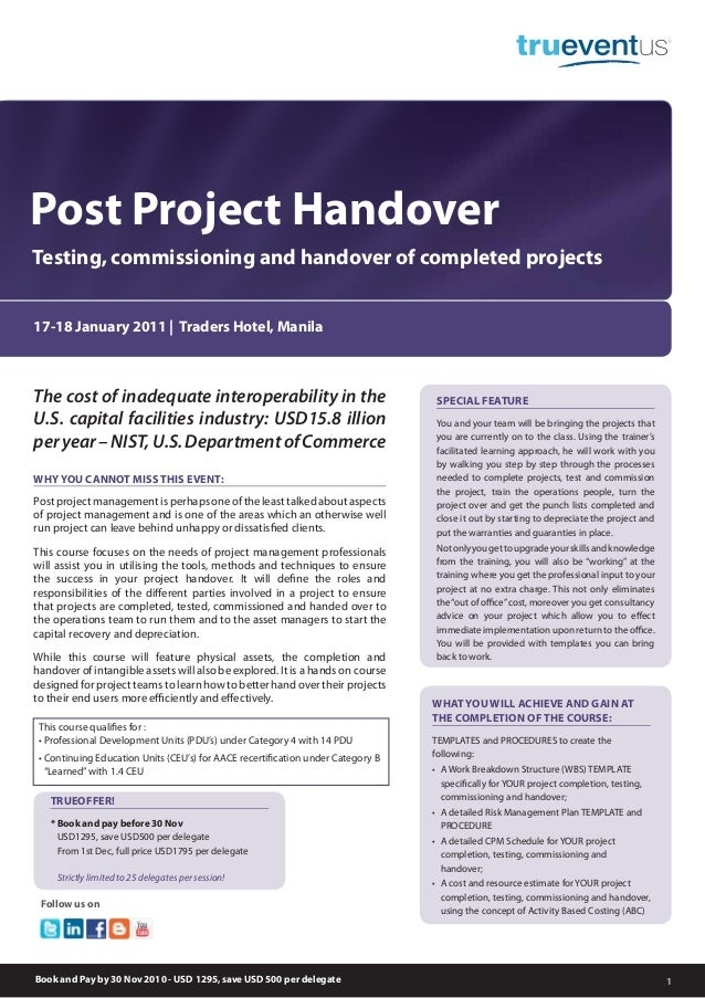 Post Project Handover 1 The Cost Of Inadequate Interoperability In US Capital Facilities Industry USD158