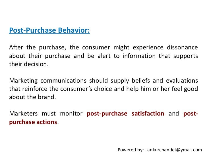 outcomes of post purchase evaluation
