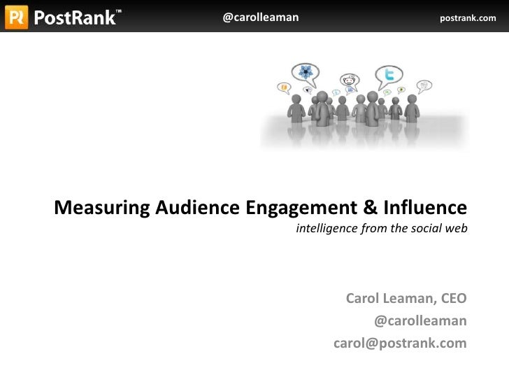 Measuring Audience Engagement & Influenceintelligence from the social web<br />Carol Leaman, CEO<br />@carolleaman<br />ca...