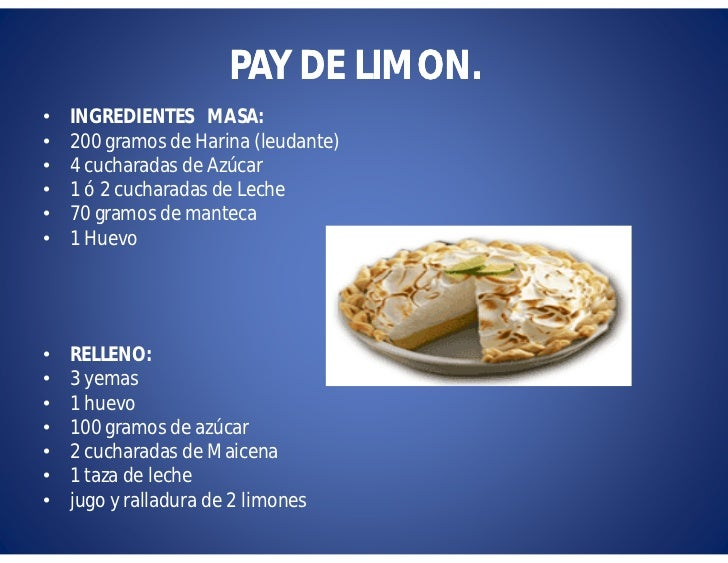 ingredientes para el pay de limon frio