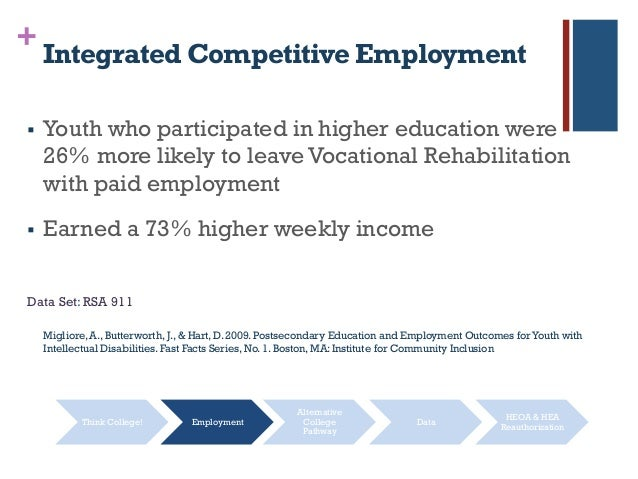+ Integrated Competitive Employment  Youth who participated in higher education were 26% more likely to leave Vocational ...