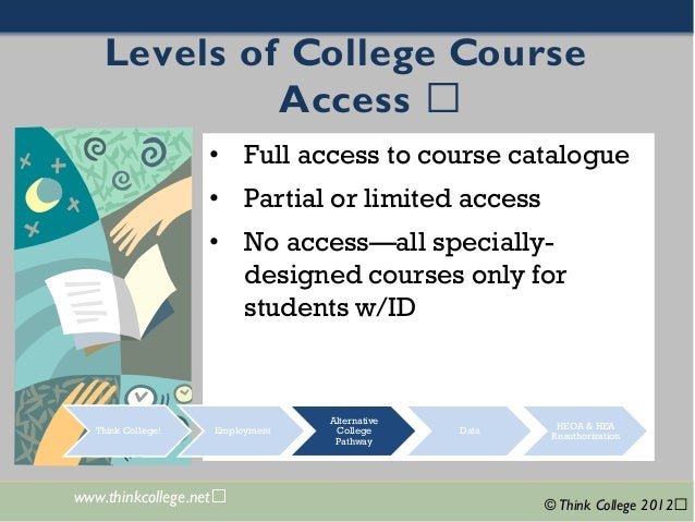 + www.thinkcollege.net ©Think College 2012 Levels of College Course Access • Full accessto course catalogue • Partial or l...