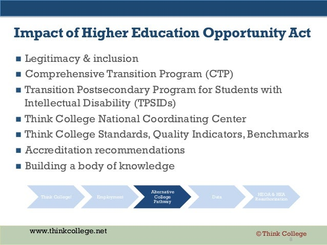 www.thinkcollege.net © Think College Impact of Higher Education Opportunity Act  Legitimacy & inclusion  Comprehensive T...