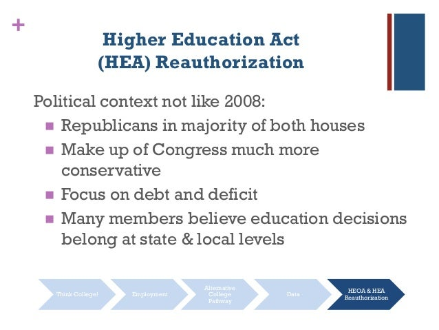 + Higher Education Act (HEA) Reauthorization Political context not like 2008:  Republicans in majority of both houses  M...